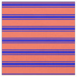 [ Thumbnail: Red & Blue Colored Striped Pattern Fabric ]