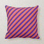 [ Thumbnail: Red & Blue Colored Striped Pattern Throw Pillow ]
