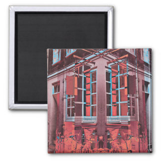 Red blue Copenhagen windows reflection digital art Magnet