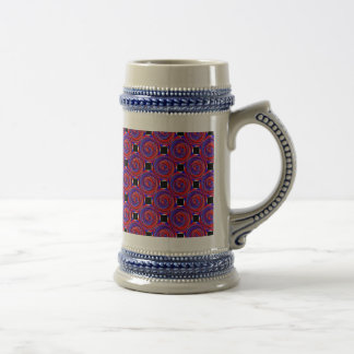 Red & Blue Counter Spiral by Kenneth Yoncich Beer Stein