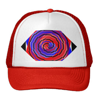 Red & Blue Counter Spiral by Kenneth Yoncich Trucker Hat