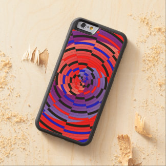 Red & Blue Counter Spiral Carved Maple iPhone 6 Bumper Case