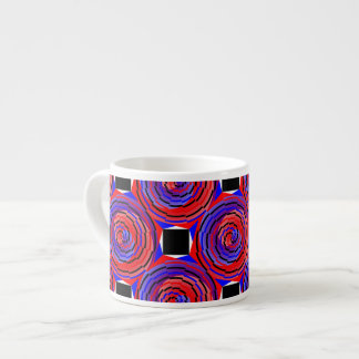 Red & Blue Counter Spiral Espresso Cup