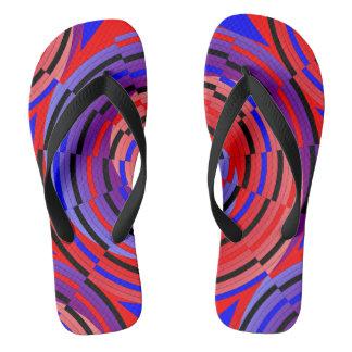 Red & Blue Counter Spiral Flip Flops
