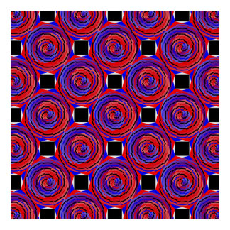 Red & Blue Counter Spiral Poster