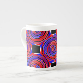 Red & Blue Counter Spiral Tea Cup