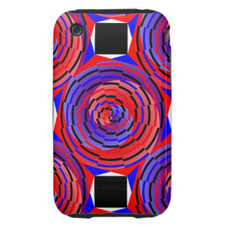 Red & Blue Counter Spiral Tough iPhone 3 Cover