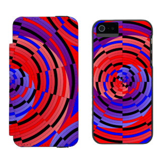 Red & Blue Counter Spiral Wallet Case For iPhone SE/5/5s