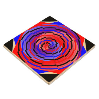 Red & Blue Counter Spiral Wood Coaster