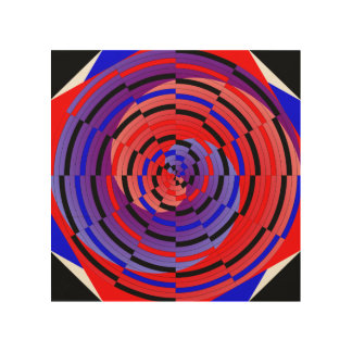 Red & Blue Counter Spiral Wood Canvases