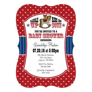 Red Blue Cowboy Baby Shower Invitation