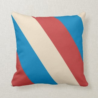 Red, Blue Cream Diagonal Stripes Throw Pillow