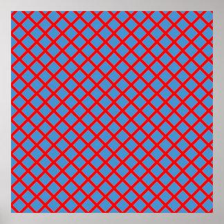 RED Blue Criss Cross Lines  : Elegant  Graphics Poster