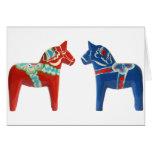 Red & Blue Dala Horse Card