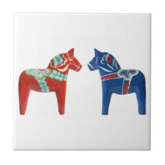 Red & Blue Dala Horse Ceramic Tile