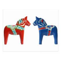 Red & Blue Dala Horse Postcard