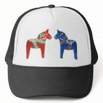 Red & Blue Dala Horse Trucker Hat