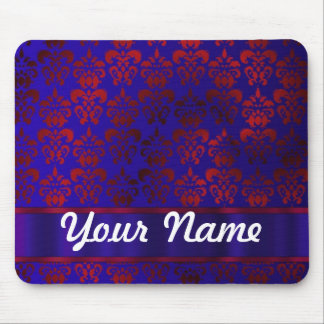 Red & blue damask swirl mouse pad