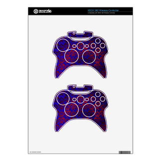 Red & blue damask swirl xbox 360 controller decal