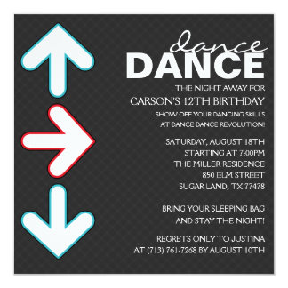 Red/Blue Dance Dance Revolution Birthday Party 5.25x5.25 Square Paper Invitation Card