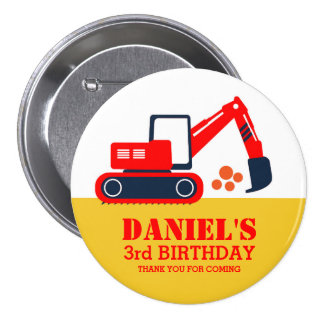 Red Blue Excavator Kids Birthday Party Button