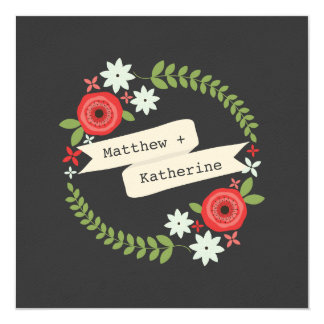 Red & Blue Floral Wreath Gray Wedding Card