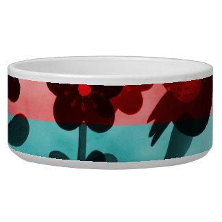 Red Blue Flower Birds Butterflies Floral Grunge Dog Food Bowls