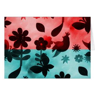Red Blue Flowers Birds Butterflies Floral Grunge Card
