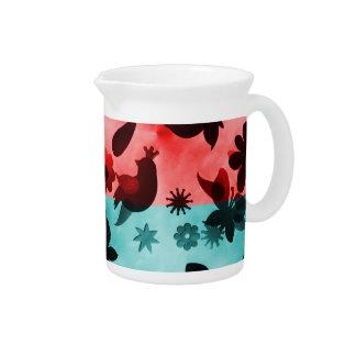 Red Blue Flowers Birds Butterflies Floral Grunge Beverage Pitcher