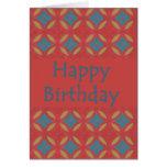 Red Blue Flowers Birthday Card