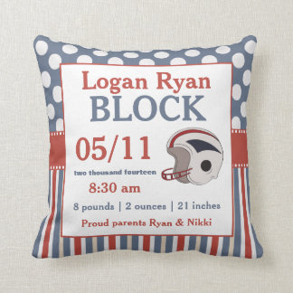 Red Blue Football Baby Announcement Pillow