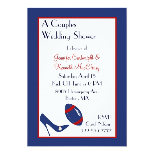 Red & Blue Football Couples Wedding Shower Card