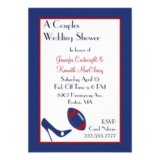 Red & Blue Football Couples Wedding Shower Personalized Invites