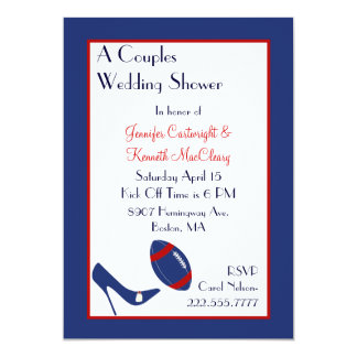 Red & Blue Football Couples Wedding Shower 5x7 Paper Invitation Card