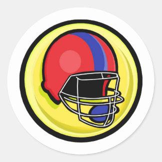 red blue football helmet logo classic round sticker