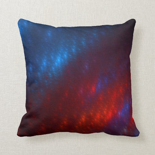 Blue Red Throw Pillow : Red & Blue Fractal Throw Pillow Zazzle