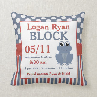 Red Blue Frog Baby Announcement Pillow
