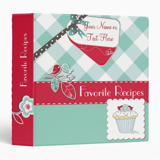 Red/Blue Gingham Personalized Recipe Binder