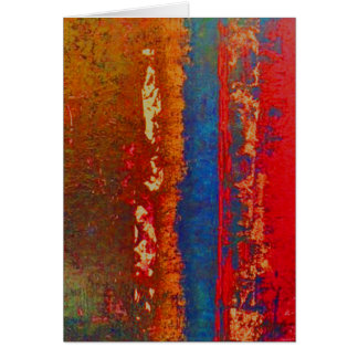 Red, Blue, Gold Abstract Greeting, Blank Card