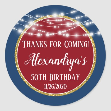 Red Blue Gold Birthday Thanks For Coming Favor Tag