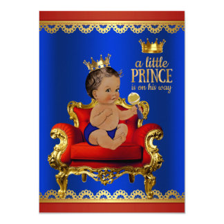Red Blue Gold Chair Ethnic Prince Boy Baby Shower Card