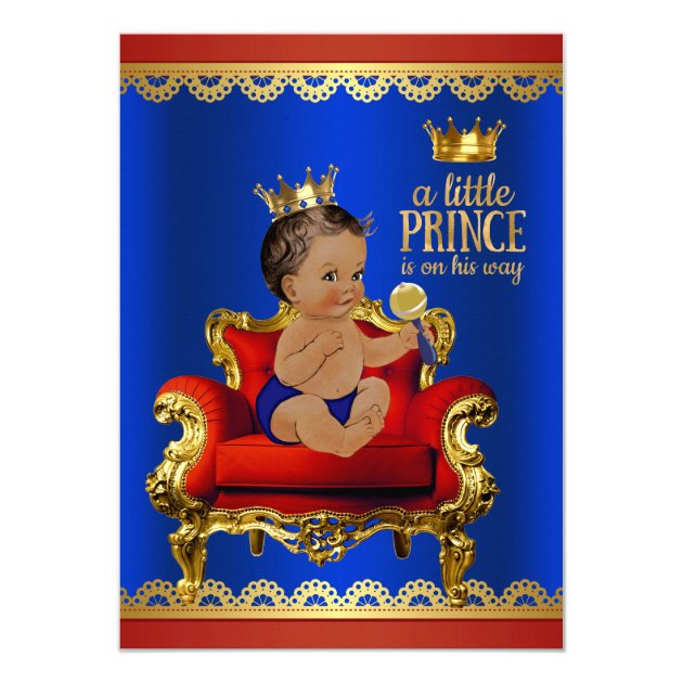 red blue gold chair ethnic prince boy baby shower card | zazzle, Baby shower invitations