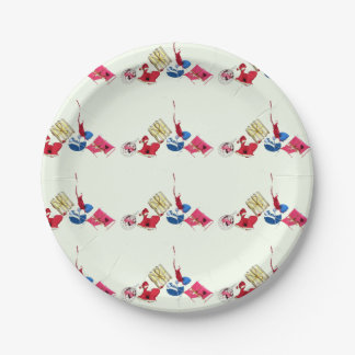 Red blue gold mini ornaments on pale green XMAS21 Paper Plate