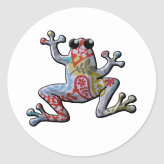 Red Blue Gold Paisley Frog Classic Round Sticker