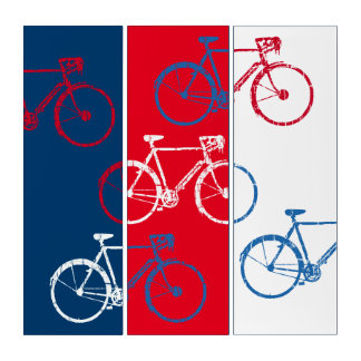 red & blue, graphic & cool bicycles triptych