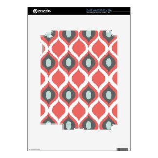 Red Blue Gray Geometric Ikat Tribal Print Pattern Decal For iPad 2