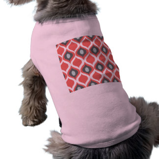 Red Blue Gray Geometric Ikat Tribal Print Pattern Dog Tshirt