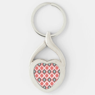 Red Blue Gray Geometric Ikat Tribal Print Pattern Keychain