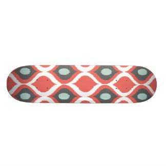 Red Blue Gray Geometric Ikat Tribal Print Pattern Skateboard Deck