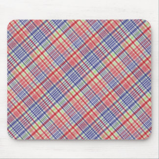 Red Blue Green And White Plaid Stripe Pattern Mouse Pad